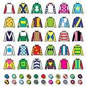 Vector icons set - horse racing jockey uniform designs isolated on white