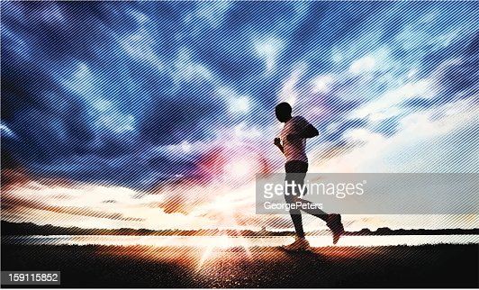 Jogging at Sunset : Vector Art