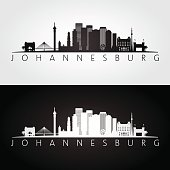 Johannesburg skyline and landmarks silhouette, black and white design, vector illustration.