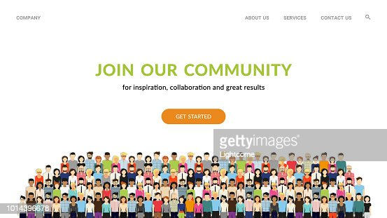 Join our community. Crowd of united people as a business or creative community standing together : stock vector