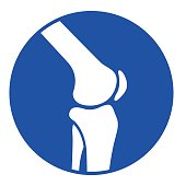 Illustration of joint knee blue icon on white background