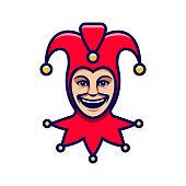 Joker head. Jester icon. Buffoon logo