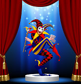 Joker with playing cards and mirror in blue light on the round podium framed by red curtain. Vector illustration