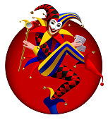 Joker with playing cards and mirror in dark red round frame. Three dimensional stylized drawing. Vector illustration