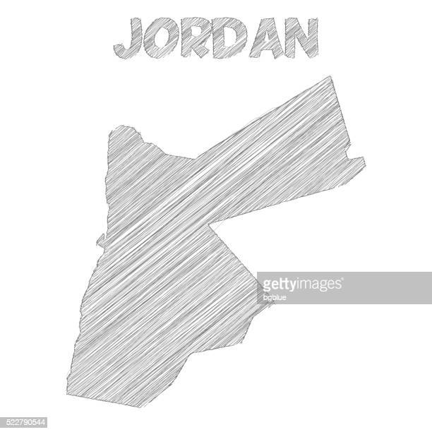 Jordan map hand drawn on white background