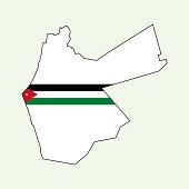 Jordan map with national flag