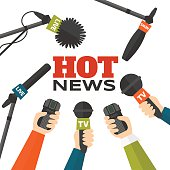 Journalism concept vector illustration in flat style. Set of hands holding microphones and voice recorders. Hot news template. Press illustration