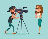Journalists. Woman reporter. Journalists do report. Two journalists. Vector flat cartoon illustration