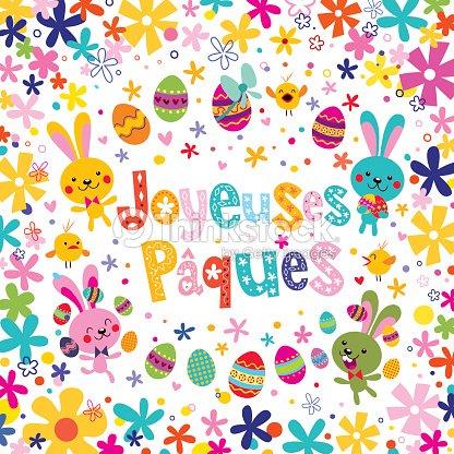 Joyeuses p ques heureux en fran ais carte de voeux de p ques clipart vectoriel thinkstock - Carte joyeuses paques ...