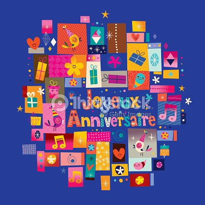 Joyeux Anniversaire Happy Birthday In French Greeting Card Vector
