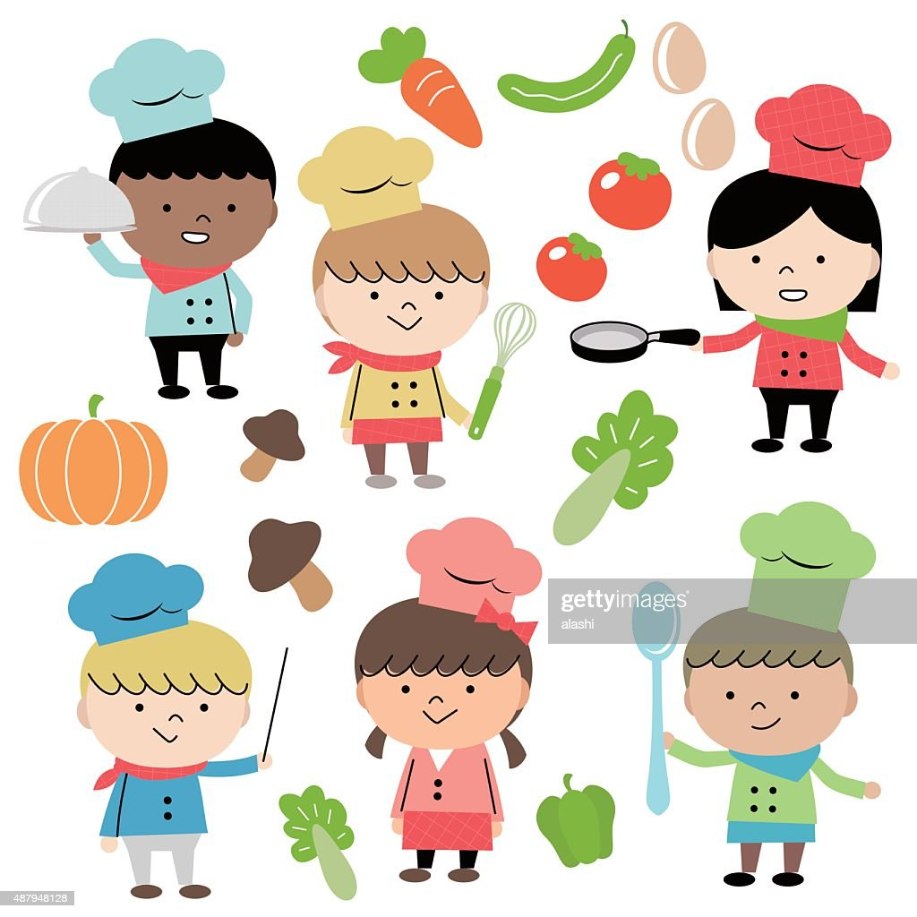 joyful group of multi ethnic children chef cooking vector art