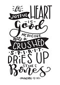 Hand Lettered A Joyful Heart Is Good Medicine. Modern Calligraphy. Handwritten Inspirational Motivational Quote.