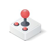 Retro joystick gamepad isolated on white background. Video game controller symbol. Isometric vector illustration