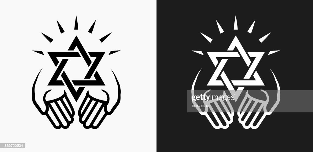 Judaism Icon On Black And White Vector Backgrounds Vector Art