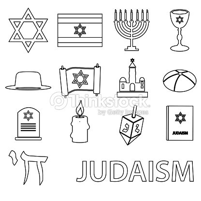 Judaism Religion Symbols Vector Set Of Outline Icons Eps10 Vector