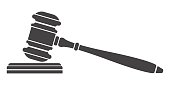 Judge gavel icon. Auction hammer. Isolated black silhouette on white background. Vector illustration of a flat design. Symbol law.