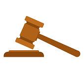 Judge Wood Hammer vector illustration, flat design, auction, judgment.
