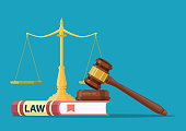 Judge wooden gavel with law book and golden scales. Justice concept. Legal law and auction symbol. Vector illustration in flat design