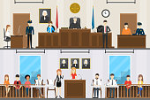 Judical court interior set. Witnesses with guilty people, lawer and judge.