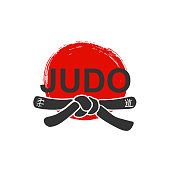 Judo - vector stylized font with black belt  knot of japanese martial arts on white background with red ink sun. Hand drawn asian sport calligraphy
