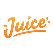 Orange juice, handwritten lettering with juicy drops. Isolated vector modern hand drawn text.