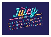 Vector of stylized juicy font and alphabet