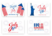 July 4th. Holiday banners for USA Independence Day. Set of modern cards, invitations, web banners for July Fourth.