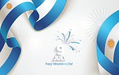 9 July, Argentina Independence Day background in national flag color theme. Celebration banner  with waving flags and firework. Vector illustration