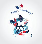 14 July Bastille day flyer, banner or poster. Colorful french map with paint/ink splatters and waving french flag. Holiday and celebration concept. Vector illustration