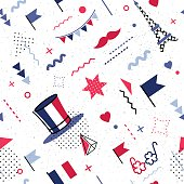 14 July Happy Bastille Day abstract background in 80s retro style. Seamless pattern for posers and cards. Colors of france national flag. Vector illustration