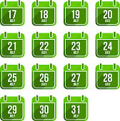 July vector flat calendar icons. Days Of Year Set 20