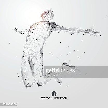 Saut homme, de points, de lignes épurées et de garder contact avec le monde en forme. : clipart vectoriel