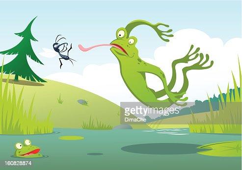 ジャンプのカエル : ベクトルアート
