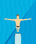 An athlete Jumps from diving board design Illustration