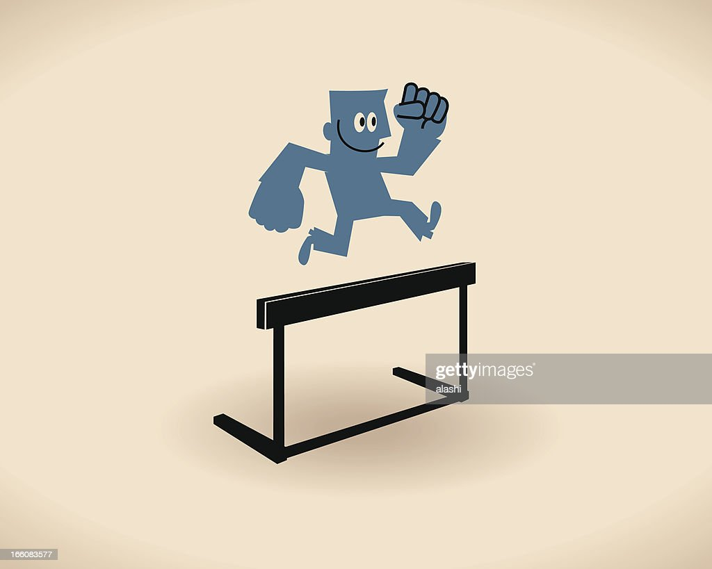 Jumping over hurdle : Vector Art