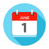 June 1 Date on a Single Day Calendar in Flat Style with long flat shadow on a blue background