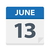 June 13 - Calendar Icon - Vector Illustration