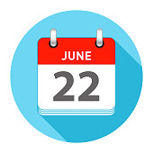 June 22 Date on a Single Day Calendar in Flat Style with long flat shadow on a blue background