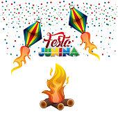 festa junina hot balloons flying confetti and bonfire celebration vector illustration