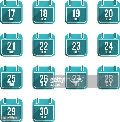 June vector flat calendar icons. Days Of Year Set 18 : stock vector
