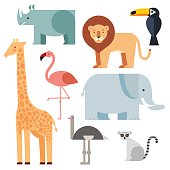 Jungle animals icons set  isolated on a white background. Vector illustration of cute animal set including lion, giraffe, rhino, elephant, toucan, lemur, ostrich and flamingo.