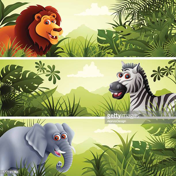 Jungle Banner with Wild Animals