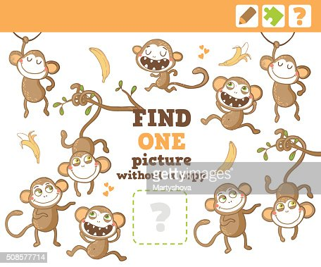 Jungle. Education Counting Game for Children. : Vector Art