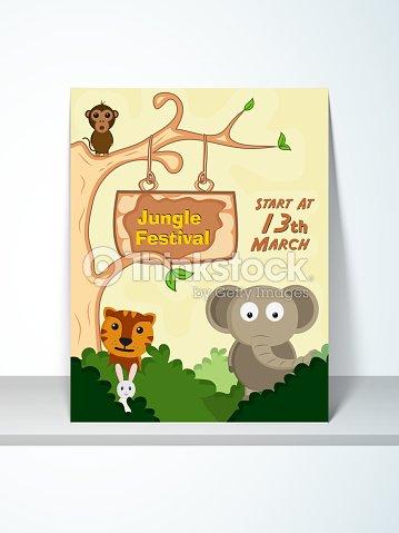 Jungle festival poster or invitation design vector art thinkstock jungle festival poster or invitation design vector art stopboris Choice Image