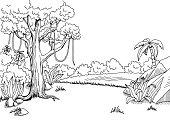 Jungle forest graphic black white landscape sketch illustration vector