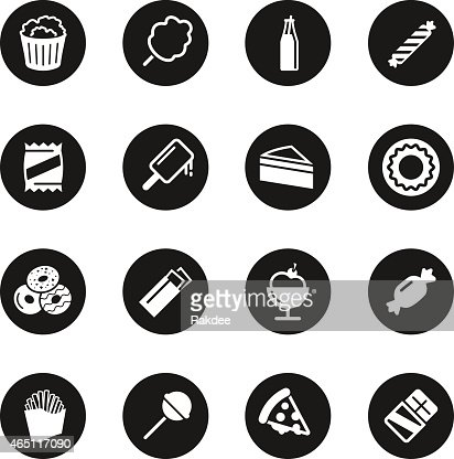 Junk Food Icons Black Circle Series Vector Art | Getty Images