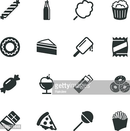 Junk Food Silhouette Icons