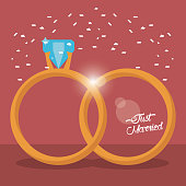 just married golden rings vector illustration eps 10