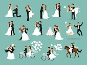 Just married , newlyweds, bride and groom set. Happy Couple celebrating marriage, dancing, kissing, hugging, holding each other in arms, cut cake, riding bike and horse, jumping after ceremony