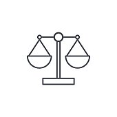 scale, justice, law, thin line icon. Linear vector illustration. Pictogram isolated on white background